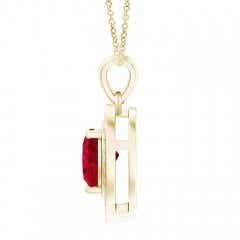 Toggle Floating Ruby Heart Pendant with Diamond Halo