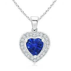 Floating Sapphire Heart Pendant with Diamond Halo