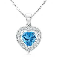 Floating Swiss Blue Topaz Heart Pendant with Diamond Halo