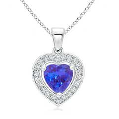 Floating Tanzanite Heart Pendant with Diamond Halo