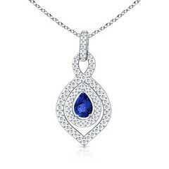 Pear-Shaped Tanzanite Twist Pendant with Diamond Double Halo