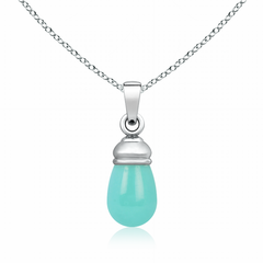 Turquoise Drop Pendant in Top Drill Setting