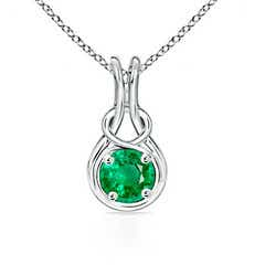 Round Emerald Infinity Love Knot Pendant Necklace