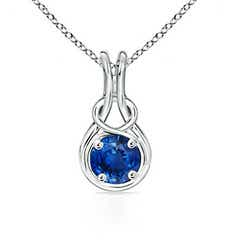 Round Sapphire Infinity Love Knot Pendant Necklace