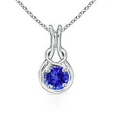 Round Tanzanite Infinity Love Knot Pendant Necklace