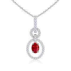 Floating Oval Solitaire Ruby Dangle Pendant with Diamonds
