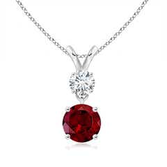 Two Stone Round Diamond and Garnet Pendant Necklace