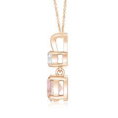 Toggle Round Morganite and Diamond Two Stone Pendant