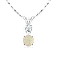Round Opal and Diamond Two Stone Pendant