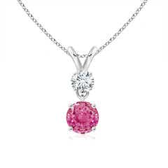 Two Stone Round Diamond and Pink Sapphire Pendant Necklace