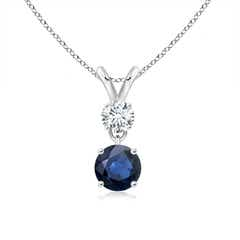 Round Sapphire and Diamond Two Stone Pendant