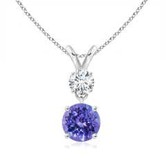 Round Tanzanite and Diamond Two Stone Pendant