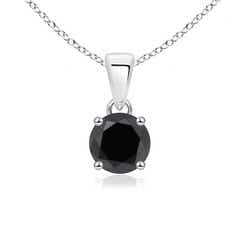 Classic Round Enhanced Black Diamond Solitaire Pendant