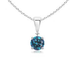 Solitaire Enhanced Blue Diamond and White Diamond Dangling Pendant