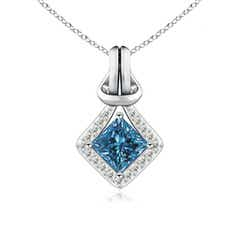 Princess-Cut Enhanced Blue Diamond Love Knot Pendant
