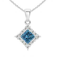 Classic Princess-Cut Enhanced Blue Diamond Pendant with Halo