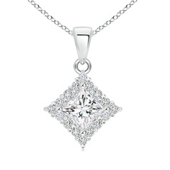 Classic Princess-Cut Diamond Pendant with Halo