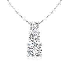 3 Stone Diamond Necklace Past Present Future