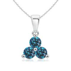 Round Enhanced Blue Diamond Three Stone Pendant
