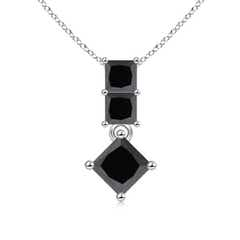 Three Stone Princess-Cut Enhanced Black Diamond Pendant