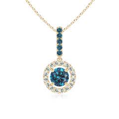 Round Enhanced Blue Diamond Floating Halo Pendant