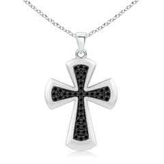 Pave-Set Enhanced Black Diamond Cross Pendant