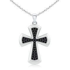 Pave Set Round Enhanced Black Diamond Cross Pendant Necklace