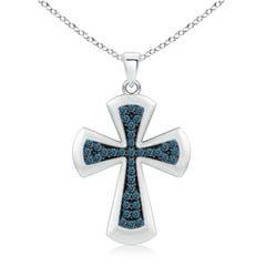 Pave Set Round Enhanced Blue Diamond Cross Pendant Necklace