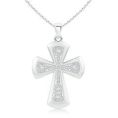Pave Set Round Diamond Cross Pendant Necklace
