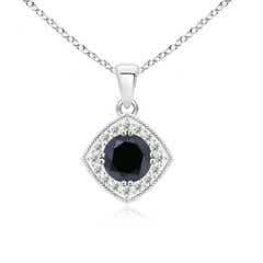 Enhanced Black and White Diamond Halo Pendant with Milgrain