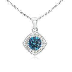 Round White and Enhanced Blue Diamond Halo Pendant with Milgrain-Edged