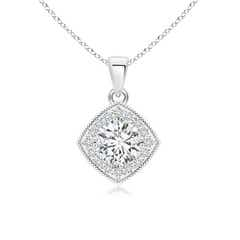 Diamond Halo Pendant with Milgrain