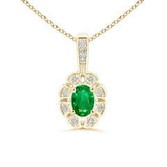 Diamond Halo Oval Emerald Flower Pendant