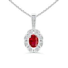 Diamond Halo Oval Ruby Flower Pendant