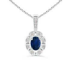 Diamond Halo Oval Sapphire Flower Pendant