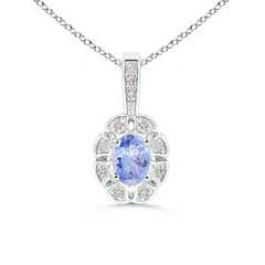 Oval Tanzanite Flower Pendant with Diamond Halo