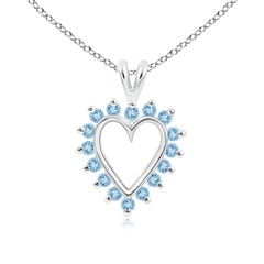 V-Bail Prong Set Open Heart Aquamarine Pendant Necklace