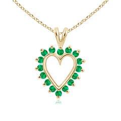 V-Bail Prong Set Open Heart Emerald Pendant Necklace