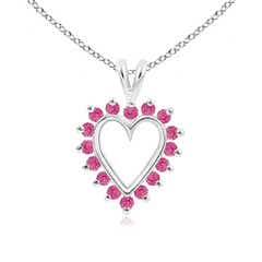 V-Bail Prong Set Open Heart Pink Sapphire Pendant Necklace