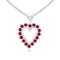 V-Bail Prong Set Open Heart Ruby Pendant Necklace