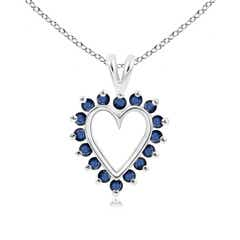 V-Bail Prong Set Open Heart Sapphire Pendant Necklace