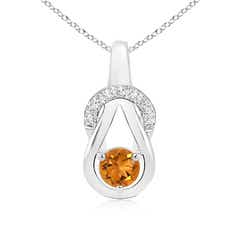 Citrine Infinity Knot Pendant with Diamonds