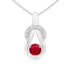 Angara Ruby Infinity Knot Pendant with Puffed Heart
