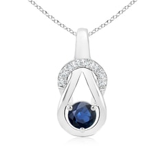 Sapphire Infinity Knot Pendant with Diamonds