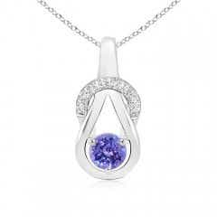 Tanzanite Infinity Knot Pendant with Diamonds