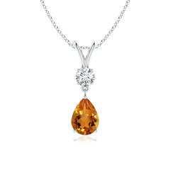 Prong Set V Bale Diamond and Citrine Drop Pendant
