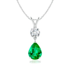 Prong Set V Bale Diamond and Emerald Drop Pendant