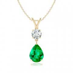 Pear-Shaped Emerald V-Bale Pendant