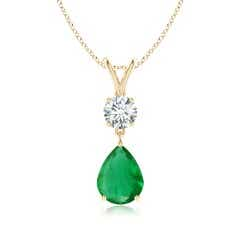GIA Certified Pear-Shaped Emerald V-Bale Pendant