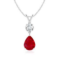 Pear-Shaped Ruby V-Bale Pendant